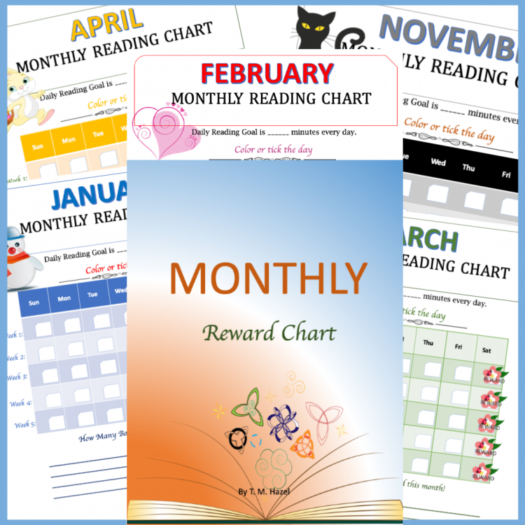 12 Monthly Reading Reward Charts