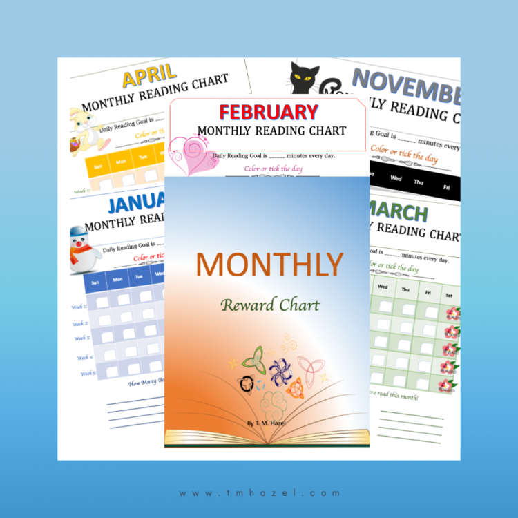 Monthly Reading Reward Charts for Kids