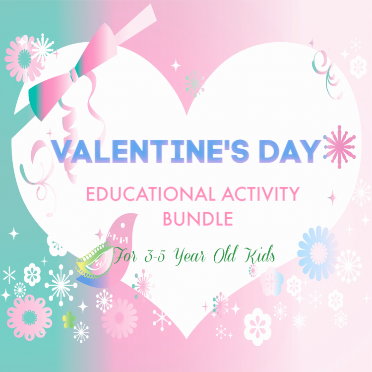 VALENTINE'S DAY EDUCATIONAL ACTIVITY BUNDLE FOR 3-5 Year Old Kids