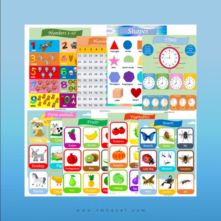 9 Educational Posters For Kids. Great For Preschool, Homeschooling, Kindergarten.