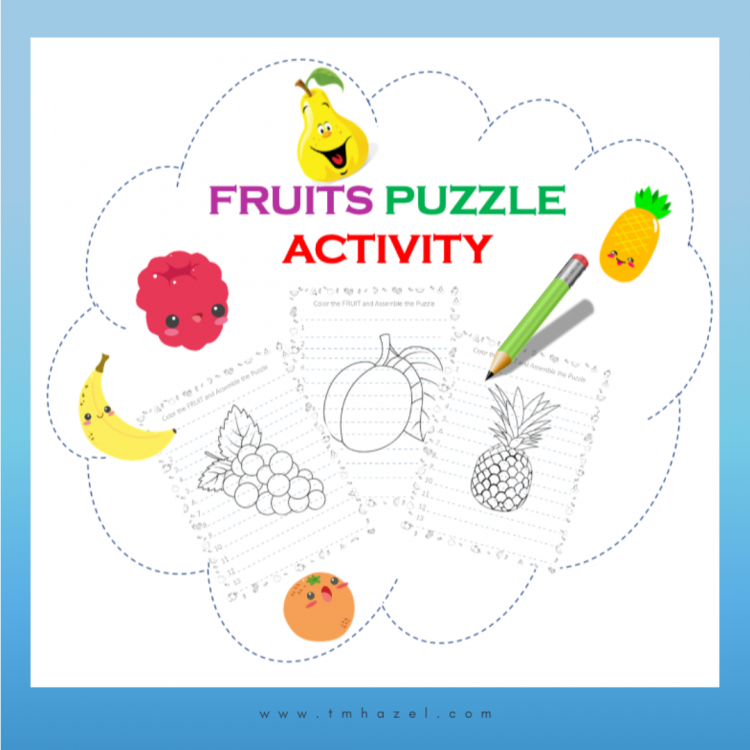 FRUIT COLORING PAGES  and  PUZZLE ACTIVITY