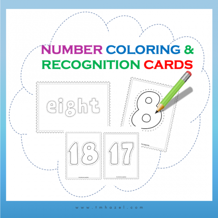 NUMBERS FLASHCARDS, COLORING CARDS