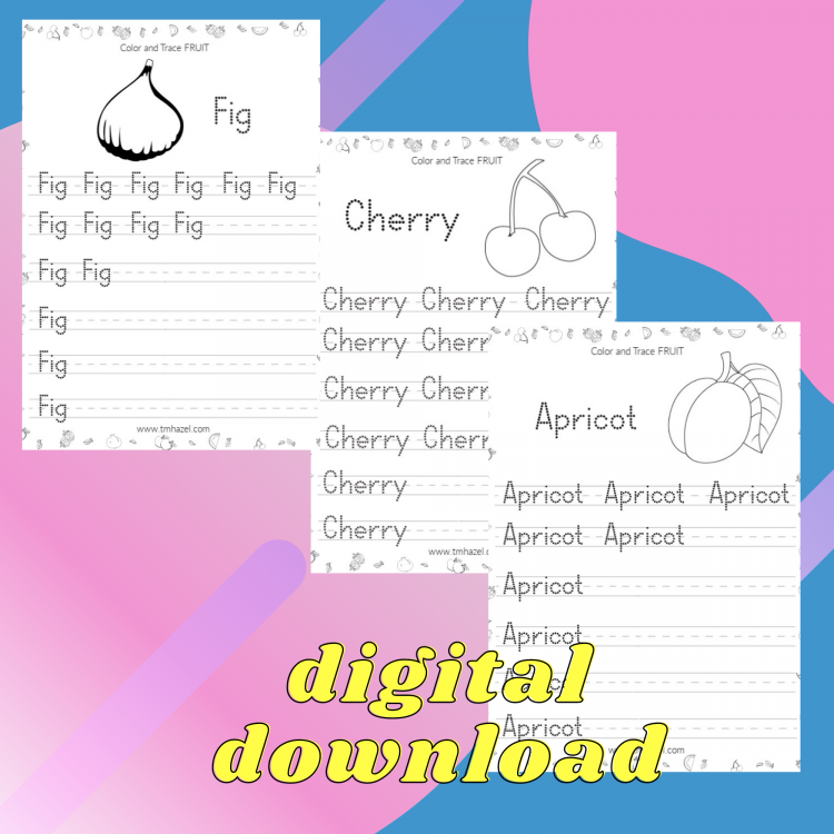 FRUITS TRACING ACTIVITY PAGES