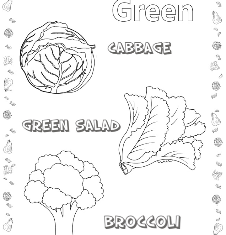 VEGETABLES COLORING PAGES and COLOR RECOGNITION