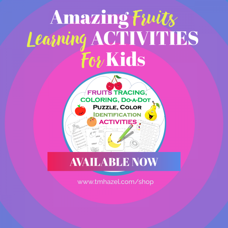 FRUITS TRACING, COLORING, DO-a-DOT, PUZZLE, DRAWING, COLOR IDENTIFICATION ACTIVITIES
