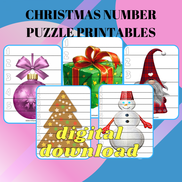 Christmas Number Puzzle Activity Printables